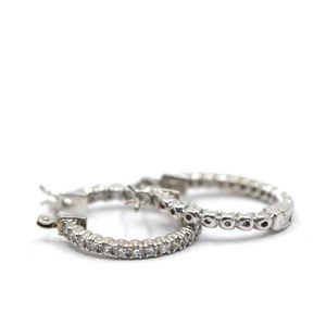 0.75 Carat 14k White Gold Diamond Hoops